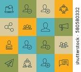 set of 16 social icons.... | Shutterstock . vector #580580332