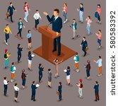 trendy people isometric vector... | Shutterstock .eps vector #580583392