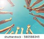 winner team  with a cup  bottom ... | Shutterstock . vector #580588345