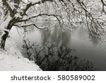 trees covered with snow... | Shutterstock . vector #580589002
