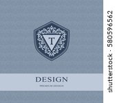 abstract monogram graceful... | Shutterstock .eps vector #580596562