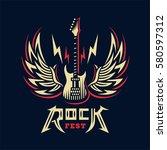 rock sign  gesture for music... | Shutterstock .eps vector #580597312