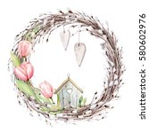 hand drawn watercolor easter... | Shutterstock . vector #580602976