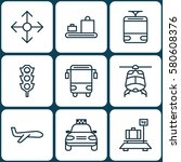 set of 9 delivery icons.... | Shutterstock . vector #580608376