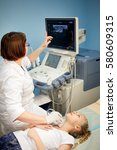 ultrasound device  the doctor... | Shutterstock . vector #580609315