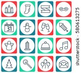 set of 16 christmas icons.... | Shutterstock . vector #580613275