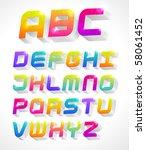 colorful 3d alphabet | Shutterstock .eps vector #58061452