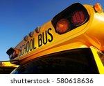 front part of yellow school bus ... | Shutterstock . vector #580618636