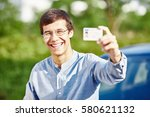 close up portrait of young... | Shutterstock . vector #580621132