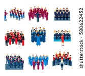 choir flat icons collection of... | Shutterstock .eps vector #580622452