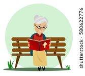 elderly woman reads the bible...   Shutterstock .eps vector #580622776