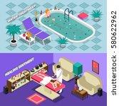 spa salon isometric horizontal... | Shutterstock .eps vector #580622962