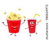 cinema popcorn and soda water... | Shutterstock .eps vector #580624972