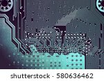 Small photo of Circuit board. Electronic computer hardware technology. Motherboard digital chip. Tech science background. Integrated communication processor. Information engineering component.