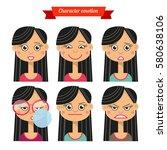 character emotion girl set | Shutterstock .eps vector #580638106