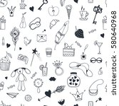 hand drawn seamless pattern... | Shutterstock .eps vector #580640968
