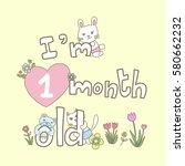 monthly milestone baby card....   Shutterstock .eps vector #580662232