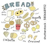 variety of bread such as bagels ... | Shutterstock .eps vector #580668952