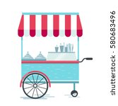 street food cart  vector... | Shutterstock .eps vector #580683496