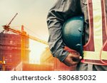 construction worker checking... | Shutterstock . vector #580685032