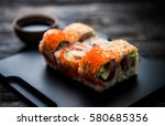 close up of sushi rolls on...   Shutterstock . vector #580685356