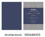wedding invitation with baroque ... | Shutterstock .eps vector #580688305