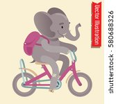 cute elephant riding a bicycle... | Shutterstock .eps vector #580688326