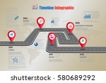 design template  road map... | Shutterstock .eps vector #580689292
