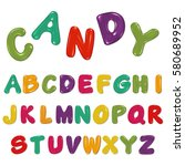 candy alphabet isolated on white | Shutterstock .eps vector #580689952
