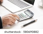 hands of financial manager... | Shutterstock . vector #580690882