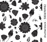 seamless pattern with black... | Shutterstock .eps vector #580698982