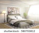 bedroom interior. 3d... | Shutterstock . vector #580703812