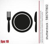 plate fork and knife | Shutterstock .eps vector #580707802