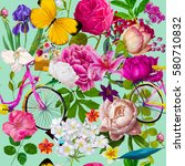seamless floral fashion pattern | Shutterstock . vector #580710832