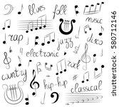 hand drawn set of  music... | Shutterstock .eps vector #580712146