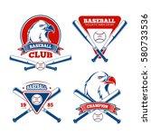 retro baseball sports vector... | Shutterstock .eps vector #580733536