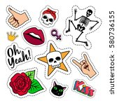 colorful quirky funny patches... | Shutterstock .eps vector #580736155