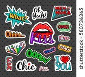 quirky quotes stickers set with ... | Shutterstock .eps vector #580736365