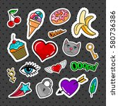 sweet quirky badges set with... | Shutterstock .eps vector #580736386