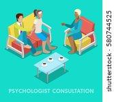 isometric psychologist...   Shutterstock .eps vector #580744525