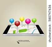 mobile phone with map pin.... | Shutterstock .eps vector #580747636