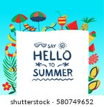 summer background with beach... | Shutterstock .eps vector #580749652