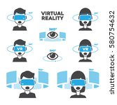 set 360 virtual reality man and ... | Shutterstock .eps vector #580754632