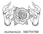 vintage astronomy  human hands... | Shutterstock .eps vector #580754788