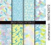 set of hand drawn seamless... | Shutterstock .eps vector #580762072