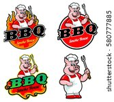 logo and mascot of pig for bbq  | Shutterstock .eps vector #580777885