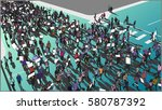 illustration of crowd marching... | Shutterstock .eps vector #580787392