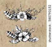 boho chic vector image tribal... | Shutterstock .eps vector #580793152