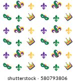 mardi gras carnival pattern... | Shutterstock .eps vector #580793806