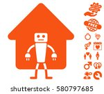 home robot pictograph with... | Shutterstock .eps vector #580797685